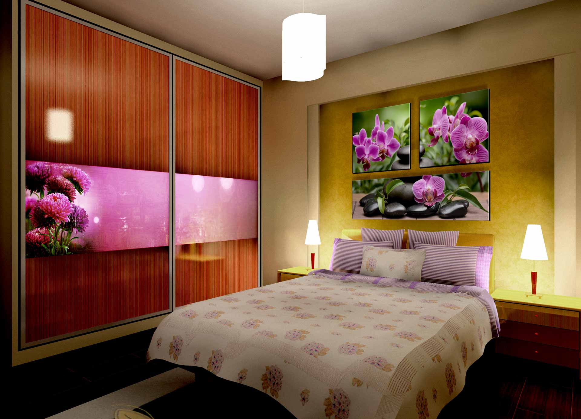 Violet Flowers bedroom&wardrobe