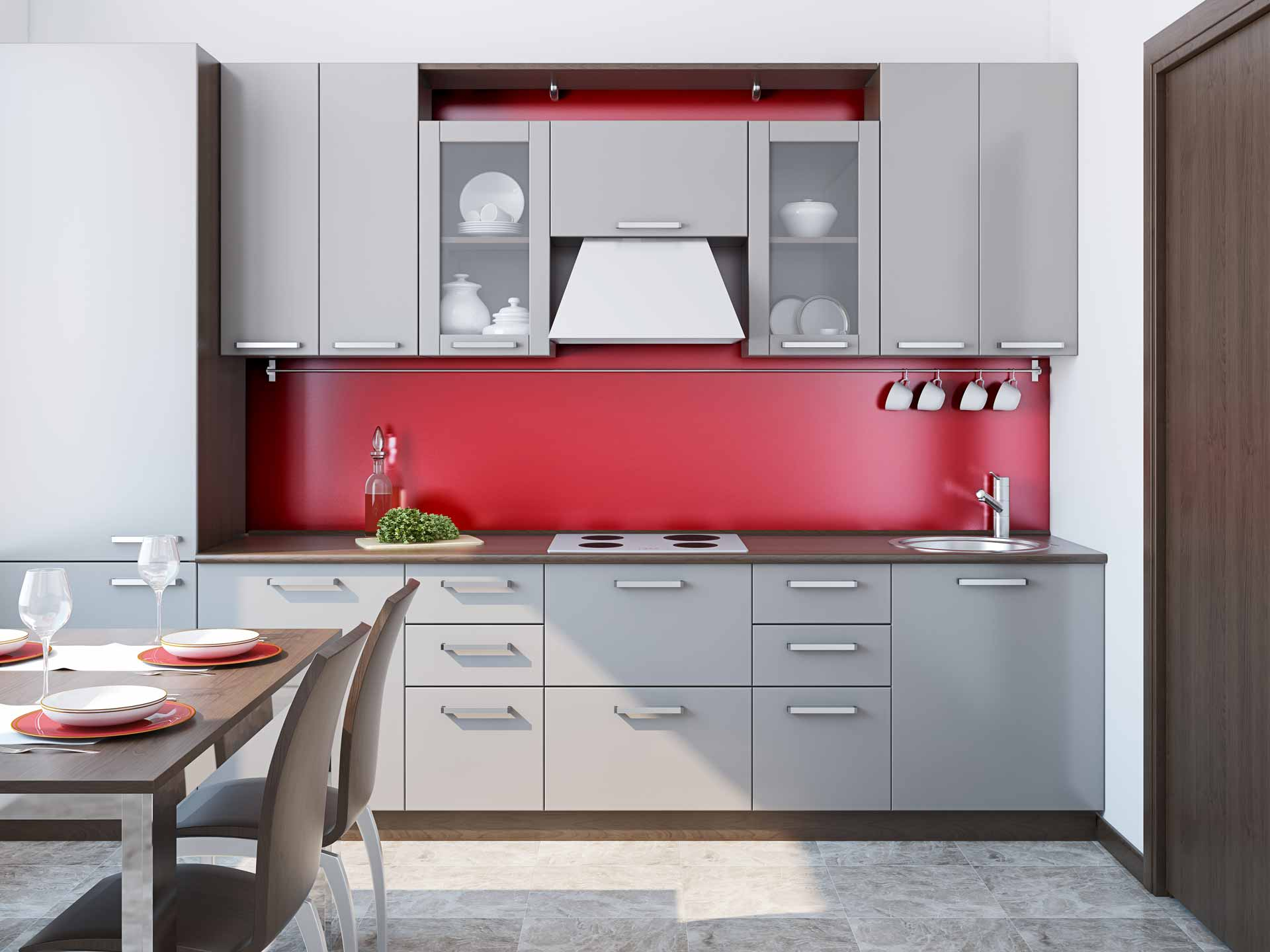Red Matt kitchen splashback