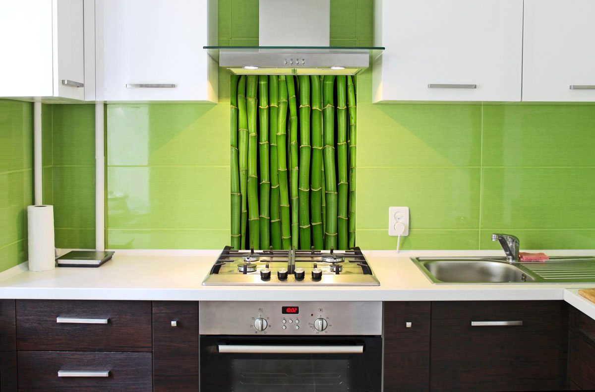 Bamboo kitchen splashback & tiles