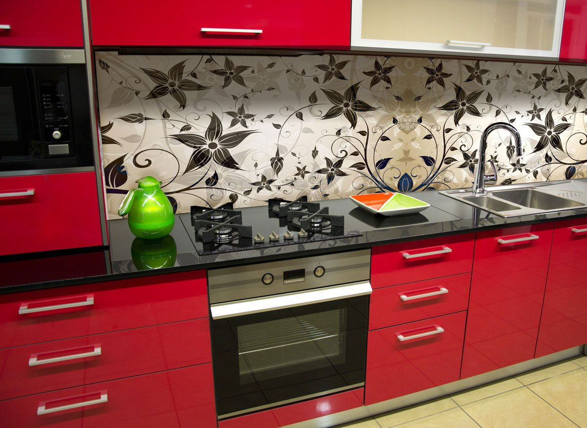 Flowery kitchen splashback 2