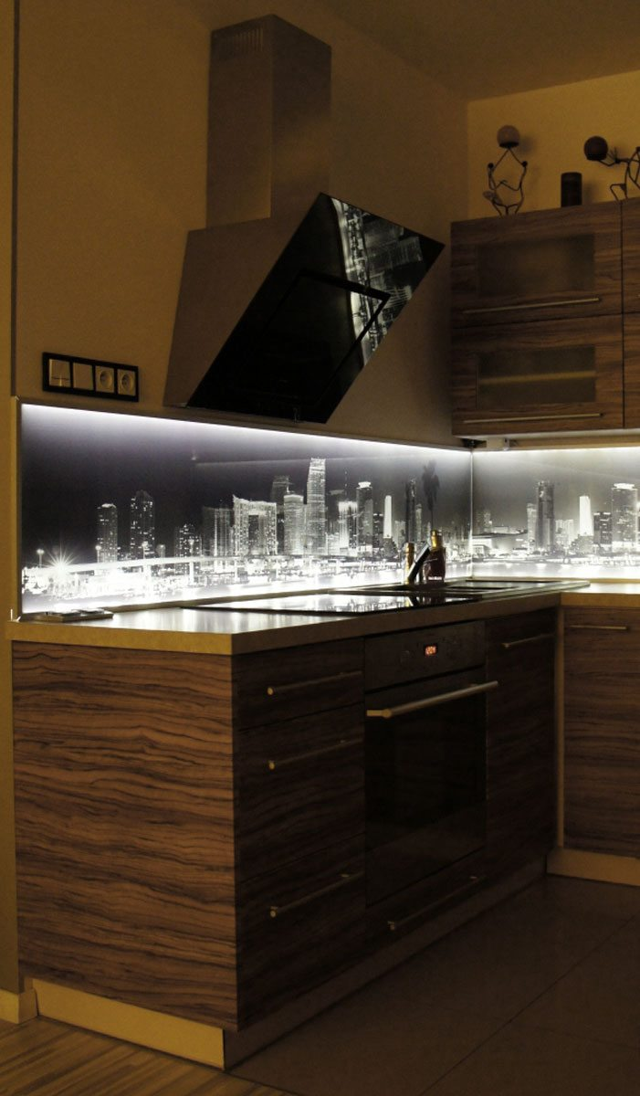 City at Night kitchen LED splashback 1