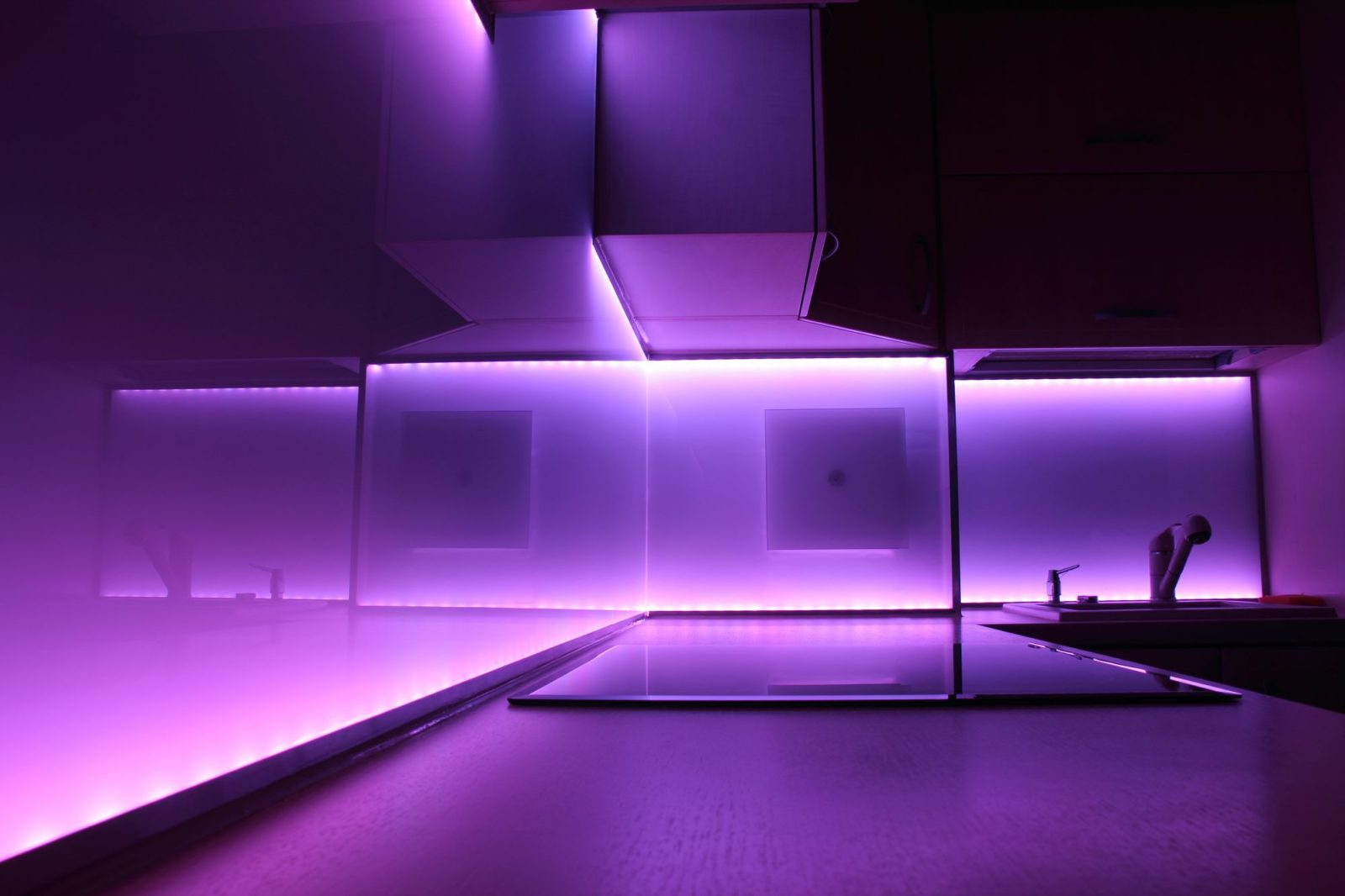 Ultra Violet LED lights in kitchen
