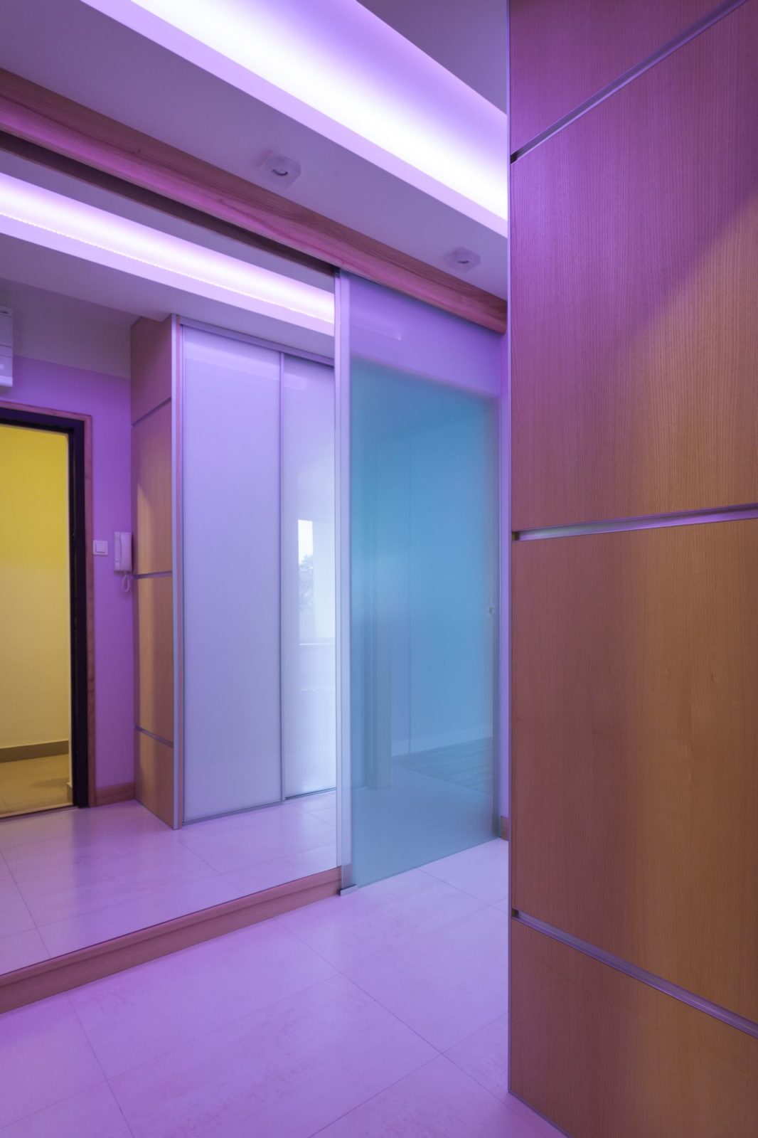 Violet wardrobe doors with LED backlight