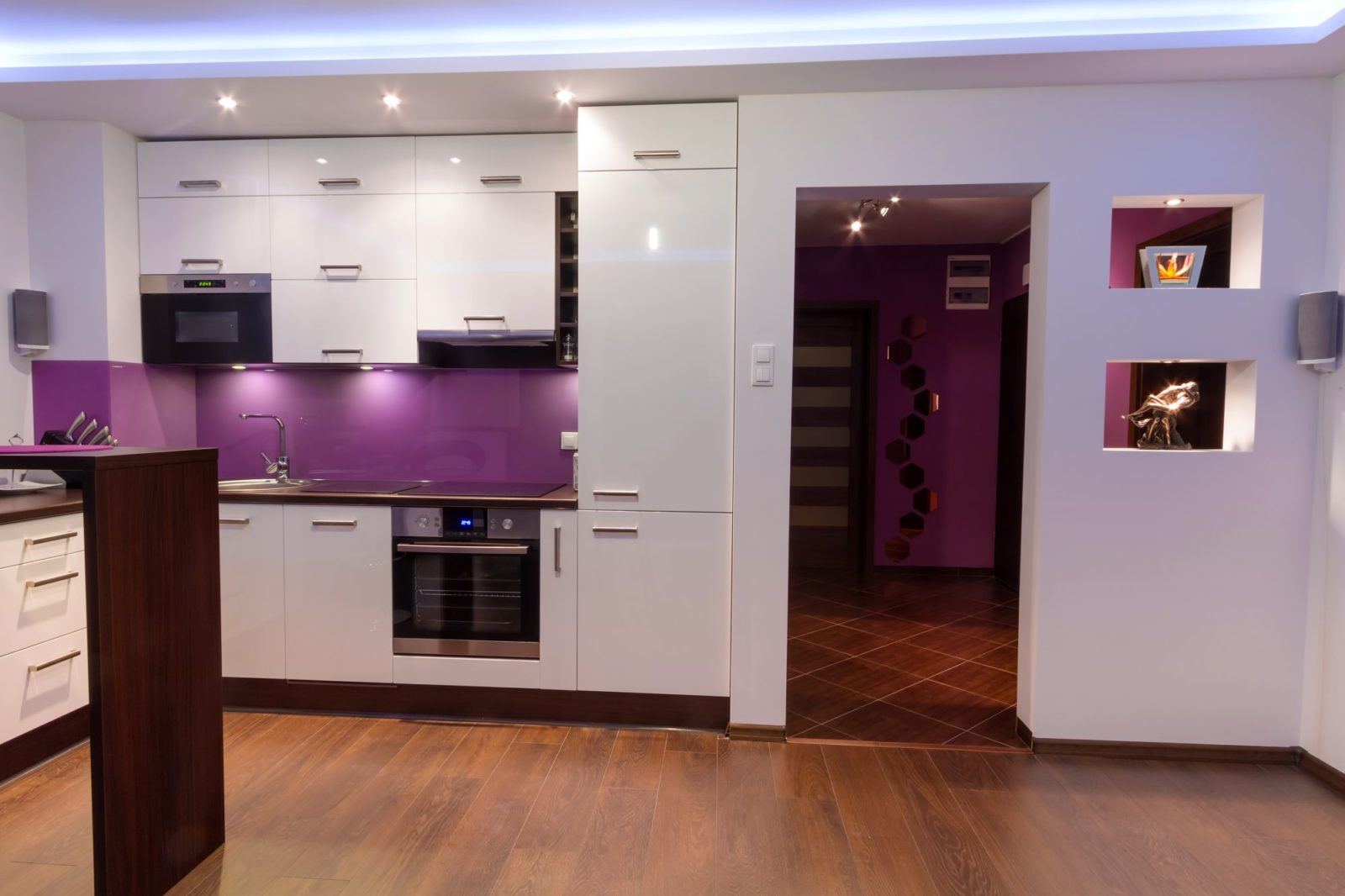 Heather & White kitchen with LED backlight